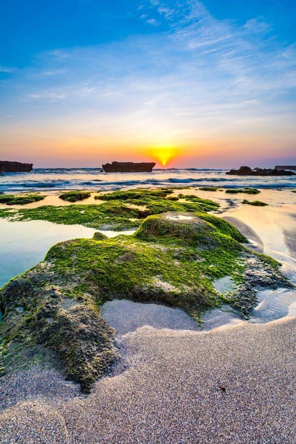 Beach landscape image at sunset. stock image