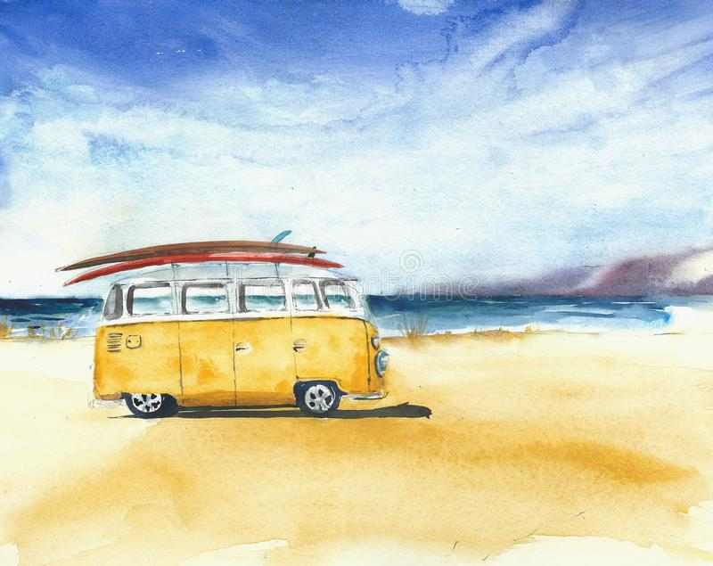 Beach landscape minivan surfboards yellow bus travel destination sport activity watercolor painting illustration vector illustration