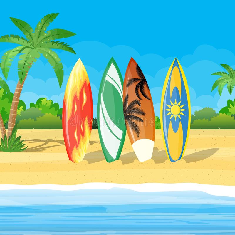 Beach landscape with surf boards scene vector illustration