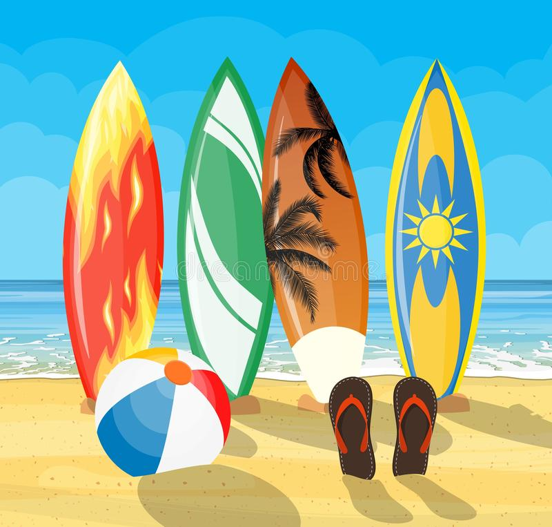 Beach landscape with surf boards scene stock illustration