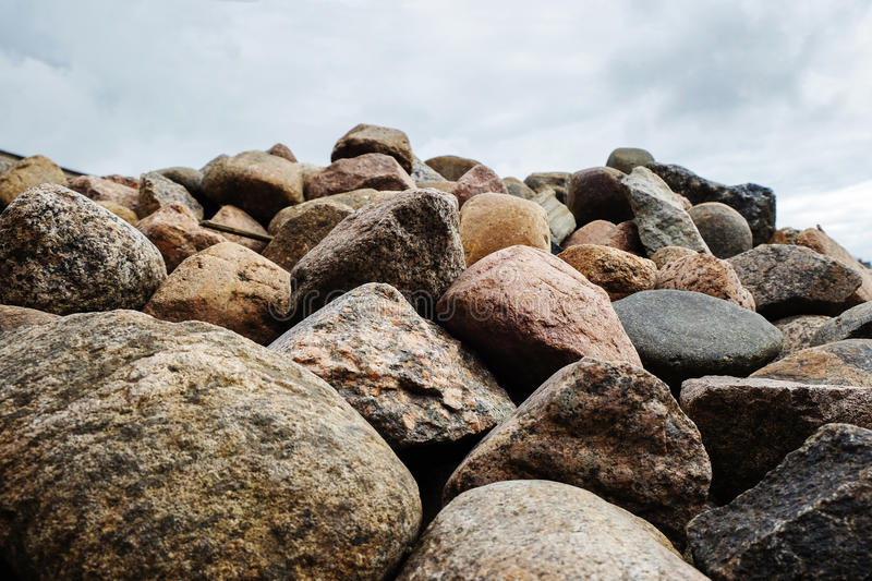 Beach of large pebbles royalty free stock photos