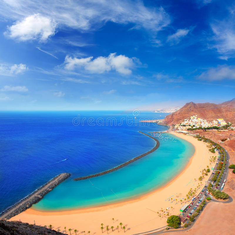 Beach Las Teresitas in Santa cruz de Tenerife north. At Canary Islands near San Andres stock image