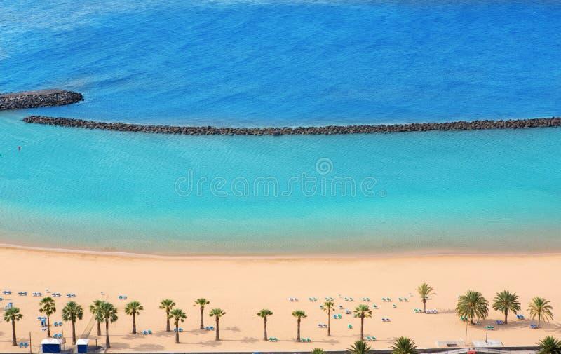Beach Las Teresitas in Santa cruz de Tenerife north. At Canary Islands royalty free stock photo