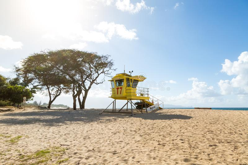 Beach with life guard hut near Paia, Maui, Hawaii stock images