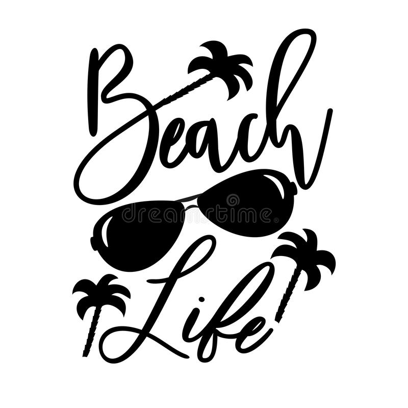 Free Beach Life-handwritten Text, With Sunglasses And Palm Trees Stock Photos - 159019793