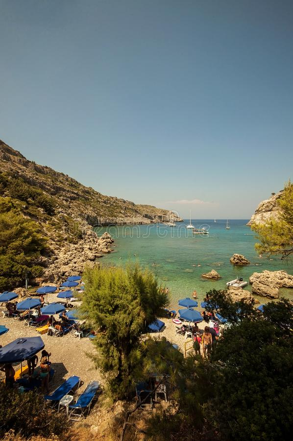 A beach life view at Anthony Quinn bay, Rhodes, Greece royalty free stock images
