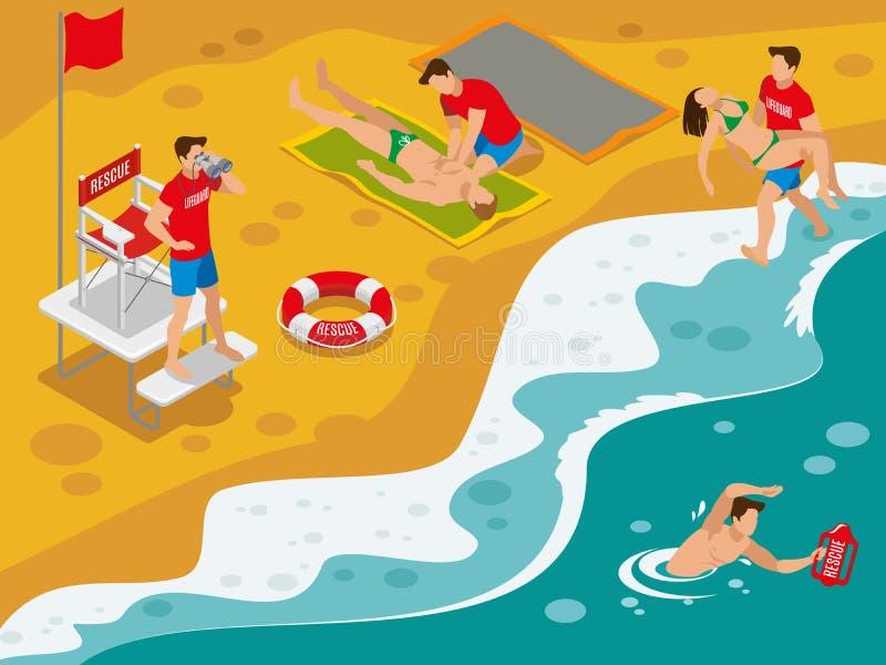 Beach Lifeguards Isometric Flowchart Stock Vector - Illustration of