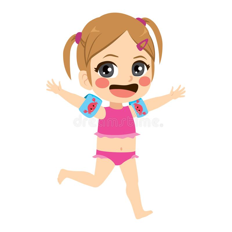 Beach Little Girl Running. Happy adorable smiling little girl on vacation running with bikini stock illustration