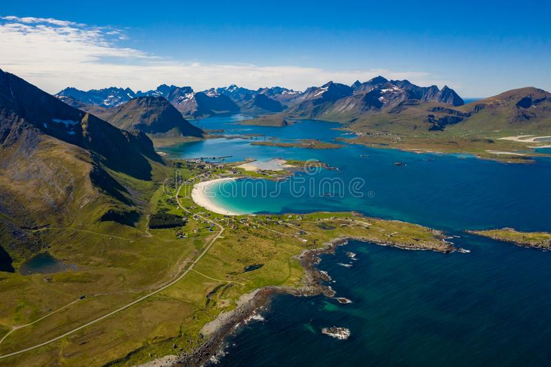 Beach Lofoten archipelago islands beach. Panorama Beach Lofoten islands is an archipelago in the county of Nordland, Norway. Is known for a distinctive scenery stock image