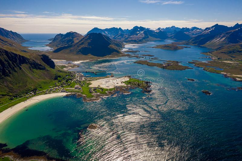 Beach Lofoten archipelago islands beach. Panorama Beach Lofoten islands is an archipelago in the county of Nordland, Norway. Is known for a distinctive scenery stock photos