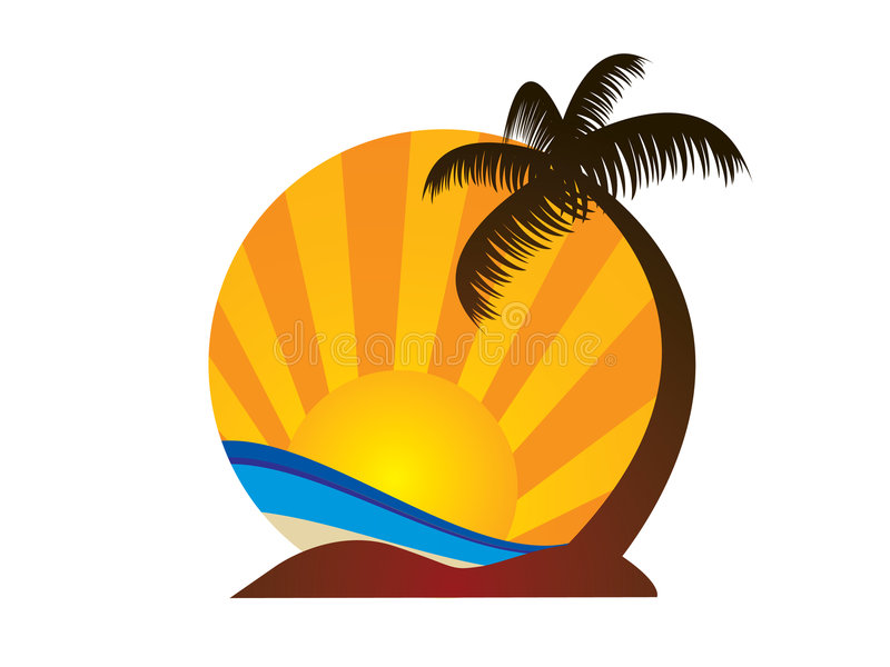 Beach logo. Clean and simple abstract beach logo stock illustration