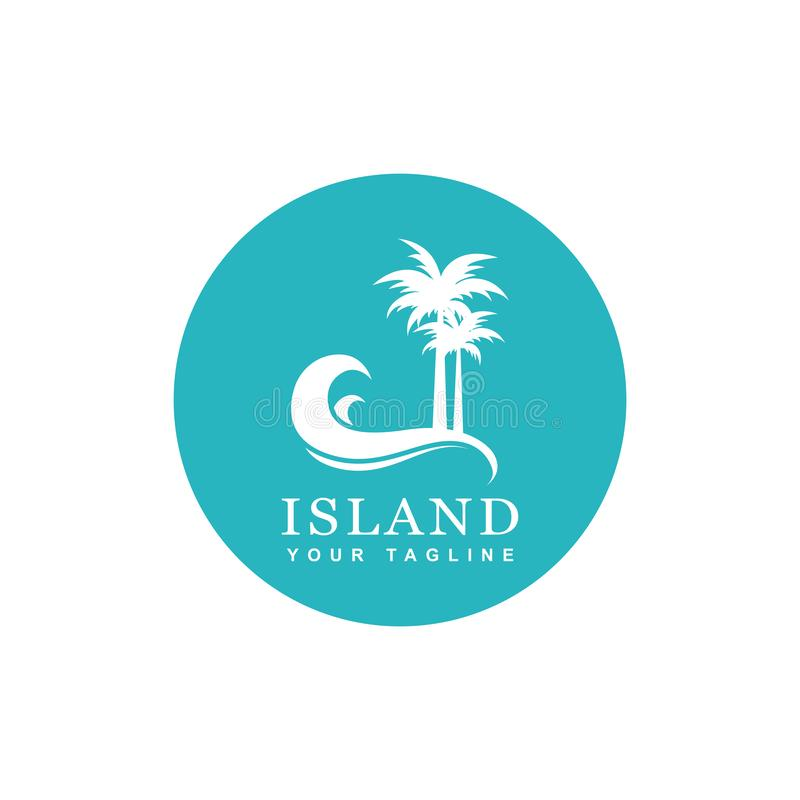 Beach logo design. Island and beach logo design, silhouette palm trees and waves vector icon vector illustration