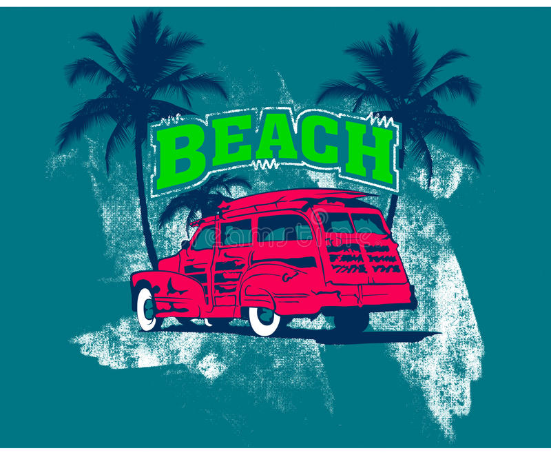 Beach logo with pink car. Green lettering beach or vacation logo with pink car, palm trees, smears of white paint and teal background royalty free illustration