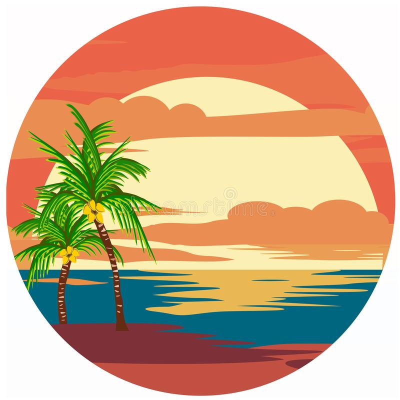 Beach Logo vector. Beach logo design with isolated background vector royalty free illustration