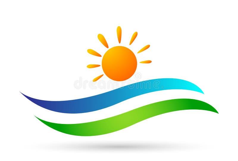 Beach logo water wave Hotel tourism holiday summer beach vector logo design Coast icon on white background stock illustration