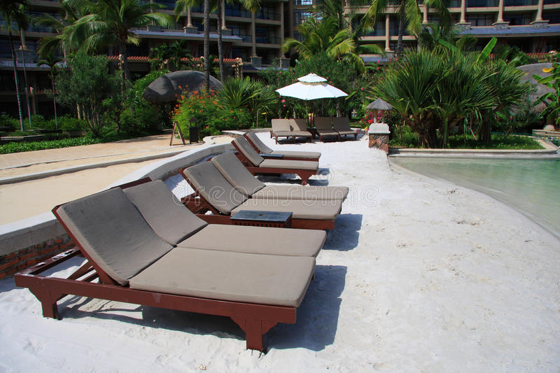 Download Beach Lounge Chairs Stock Photo. Image Of Resort, Quiet   14867196