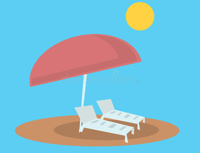 Download Beach Lounge Chairs And Umbrella Stock Vector - Image: 31873131