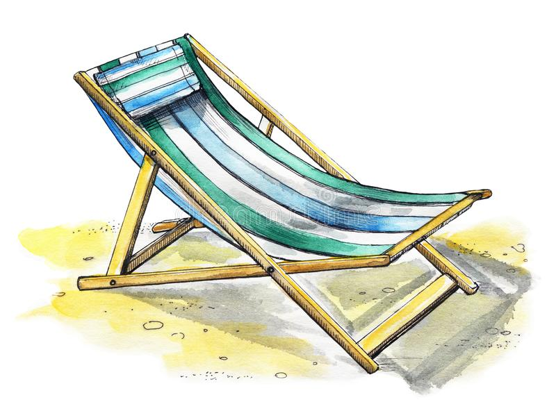 Watercolor beach lounger. Beach lounger on the sand. Watercolor hand drawn illustration royalty free illustration