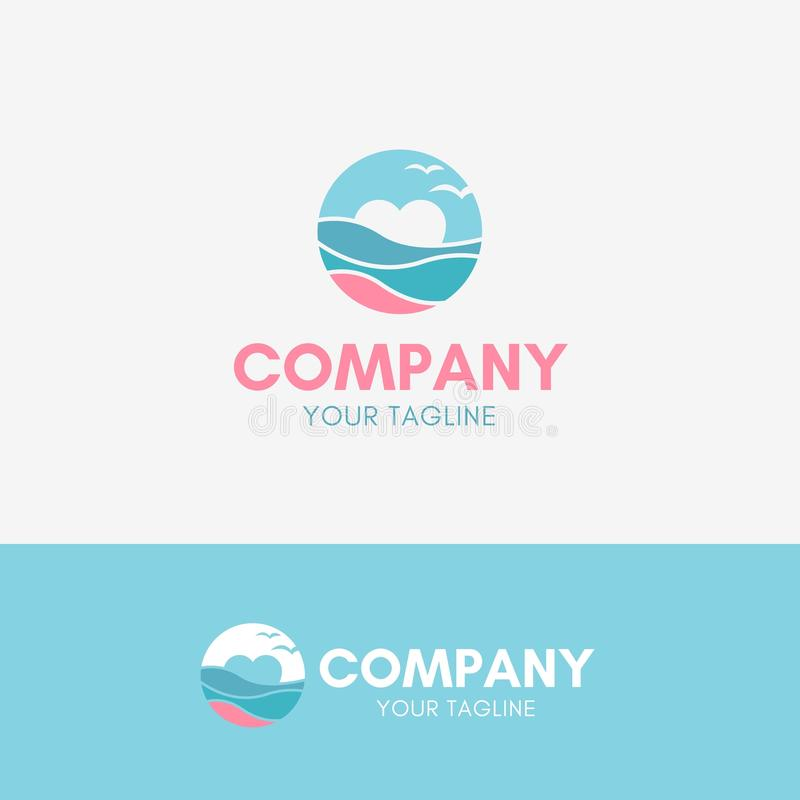 Beach Love Logo. Template icon symbol with pastel color stock illustration