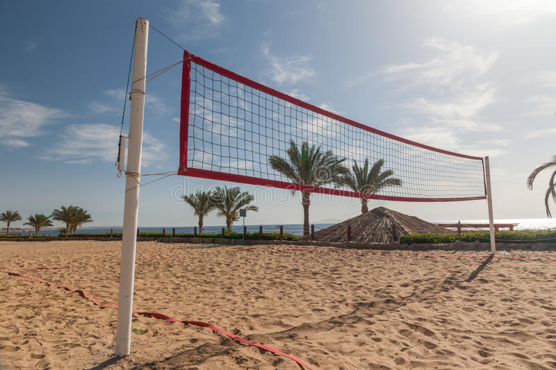Beach at the luxury hotel, Sharm el Sheikh, Egypt. The beach at the luxury hotel, Sharm el Sheikh, Egypt. view from the volleyball court royalty free stock images