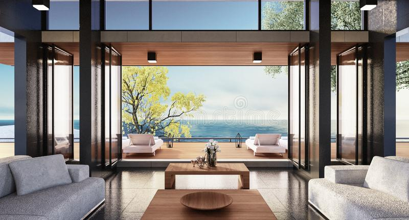 Beach luxury living on Sea view / 3d render royalty free stock photos