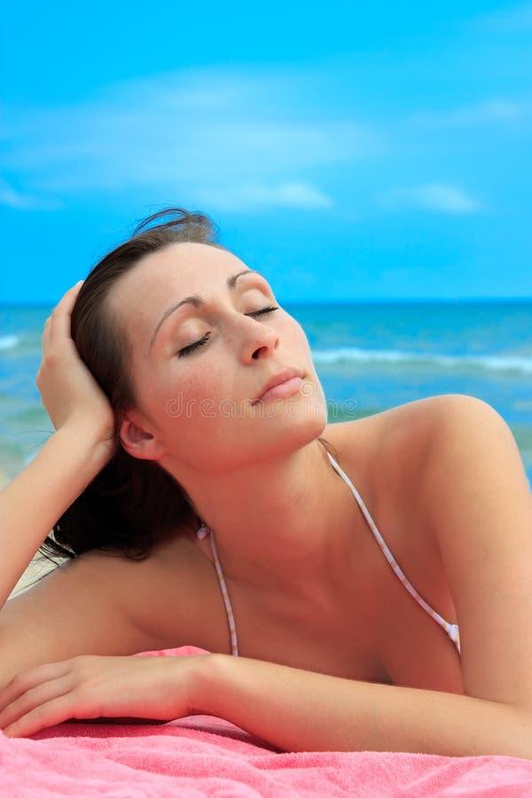 Beach lying girl