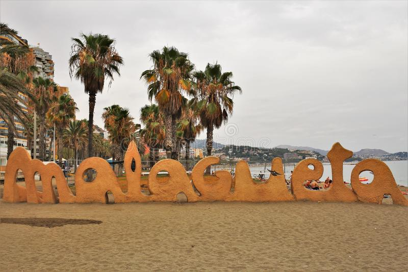 Beach of Malagueta in the town of Malaga. Andalusia, southern Spain. It belongs to the well-known Costa del Sol and in the summer season it is full of tourists stock images