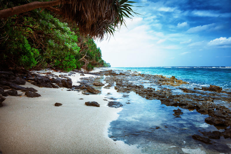 Beach at Maldives island Fulhadhoo with white sandy beach and sea and stones and rocks, corals. Scenic view of Wild idyllic Beach at Maldives island Fulhadhoo royalty free stock photo