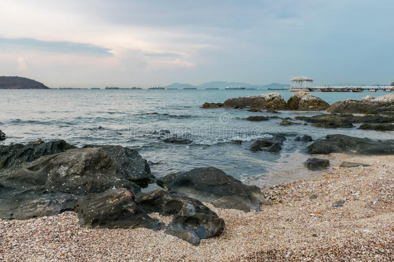 Beach with many rocks at Sri-chung island, Thailand. Rocls and sand at the beach royalty free stock images