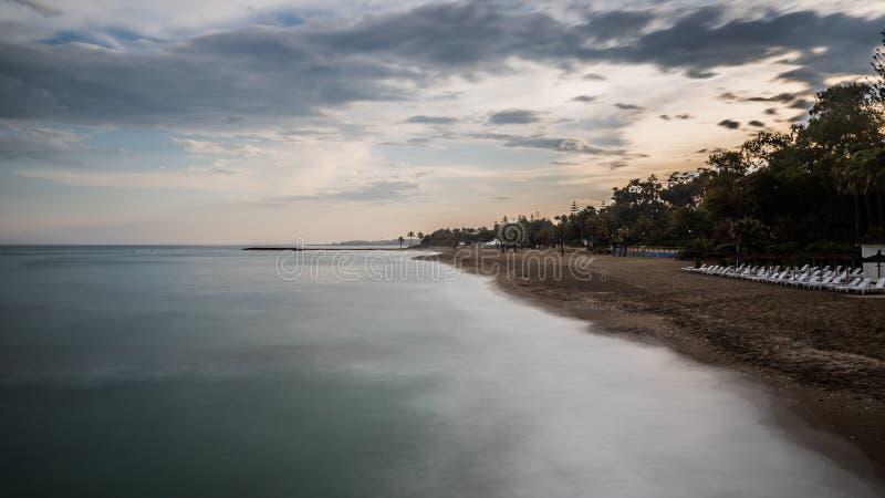 Beach at sunset. royalty free stock photos
