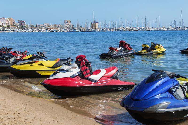 Beach and marina of Torrevieja. At sunny weather. Costa Blanca. Spain stock images