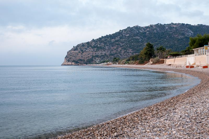 The beach at Mattinata, Gargano Peninsula, Puglia, Italy. Photographed early in the morning in late summer. The Gargano Peninsula, Southern Italy in in Foggia stock images