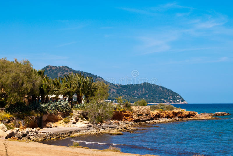 Download Beach Of Mediterranean Sea Under Clear Blue Sky Stock Image - Image: 14564231