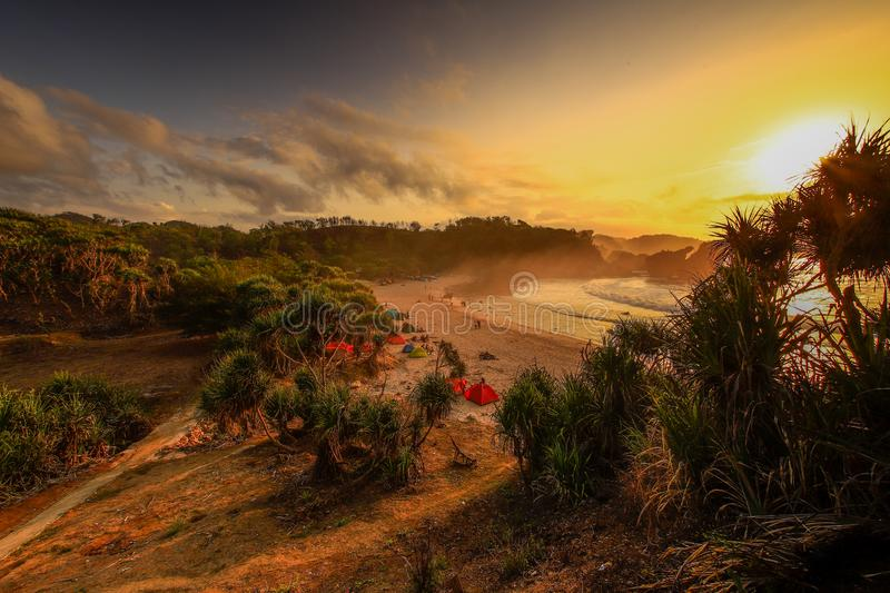 the beach in the morning is the most suitable place to calm the mind and feel good for the holidays royalty free stock photo