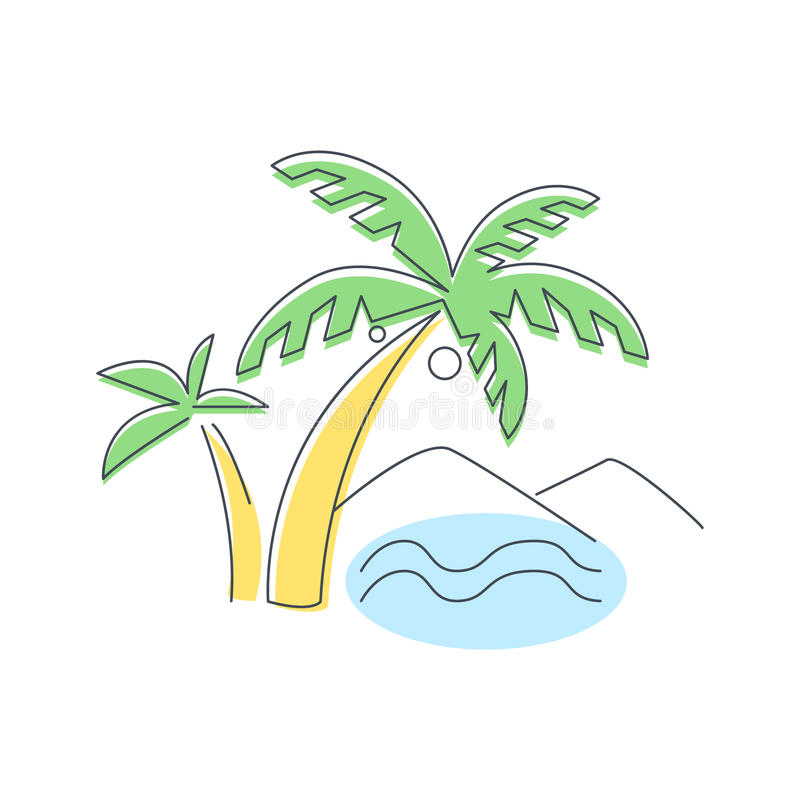 Beach, Mountain And Palm Trees vector illustration