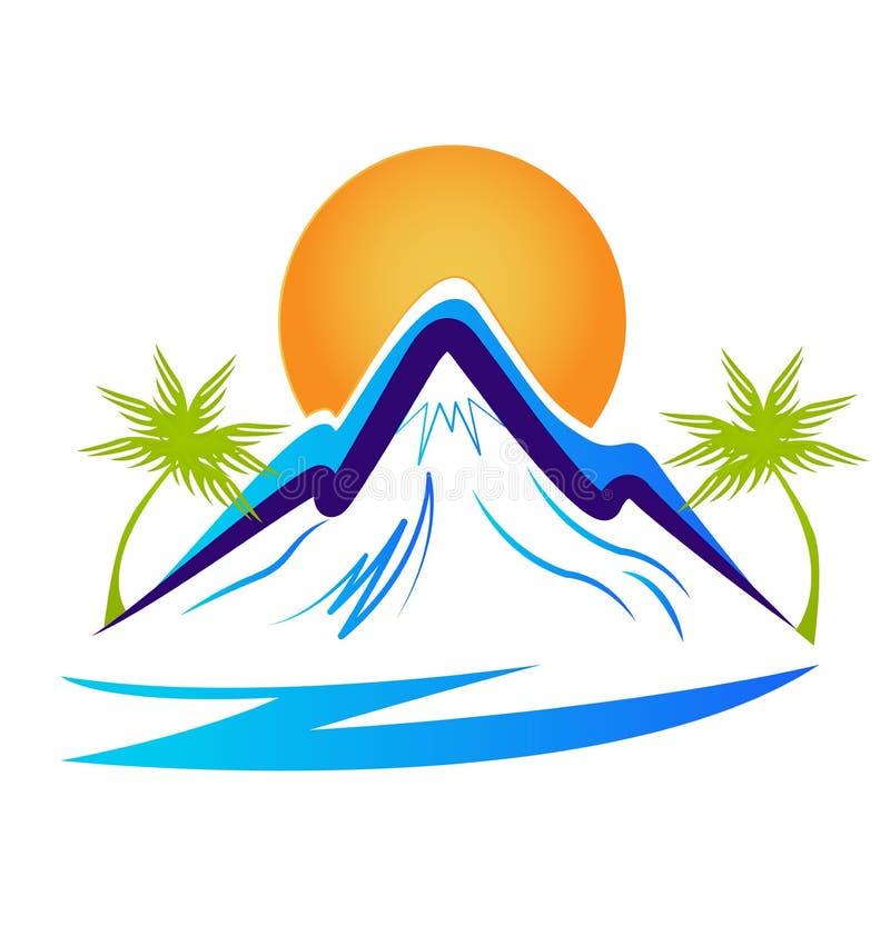 Beach and mountain silhouette icon vector vector illustration