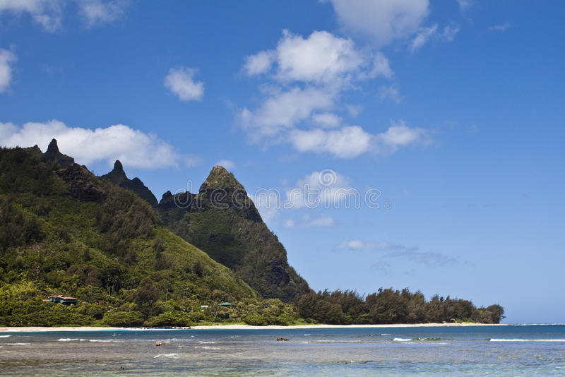 Beach and Mountains. Tunnels beach and mountain on the North Shore of Kauai stock photo
