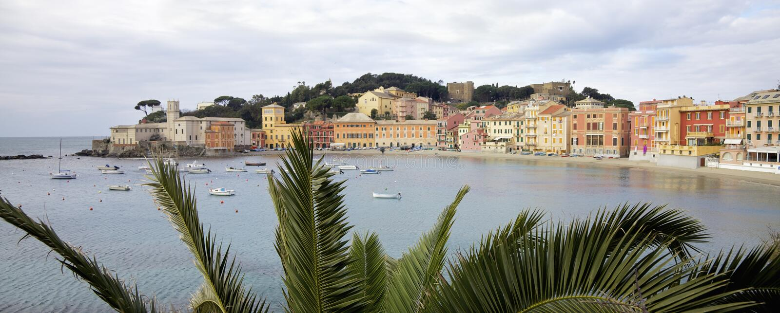 Beach named Bay of Silence in the Sestri Levante city. Italy stock images