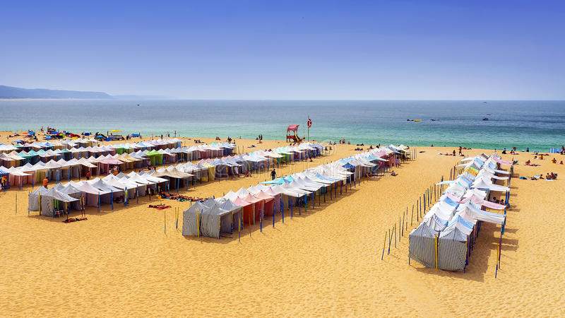 Beach in Nazare on the shores of the Atlantic Ocean. Portugal royalty free stock photo