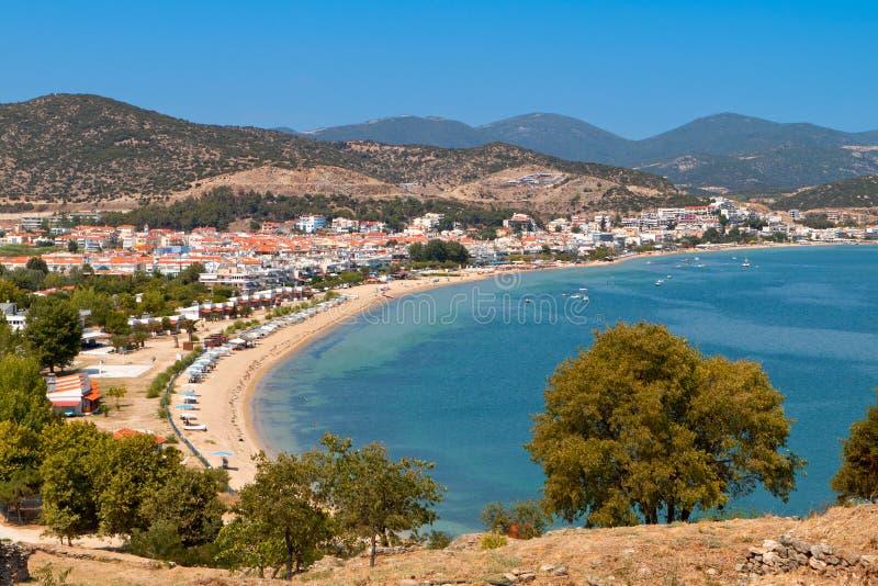 Beach of 'Nea Peramos' in Greece. Beach of 'Nea Peramos' near Kavala city in Greece stock photo