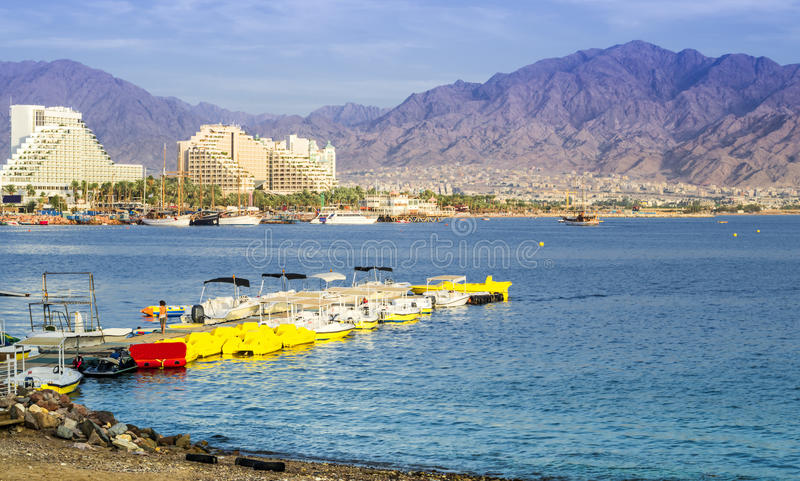 Beach near Mercury Hotel, Eilat, Israel. Water sport and recreation activities in the Aqaba gulf (Red Sea) near the biggest hotels of Eilat – famous royalty free stock photo