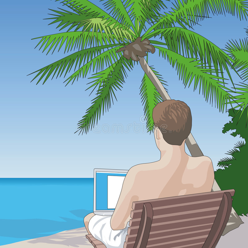 On the Beach, On the Net. Vector Illustration of a shirtless man sitting on the beach working on a laptop computer. This illustration is completely of my own vector illustration