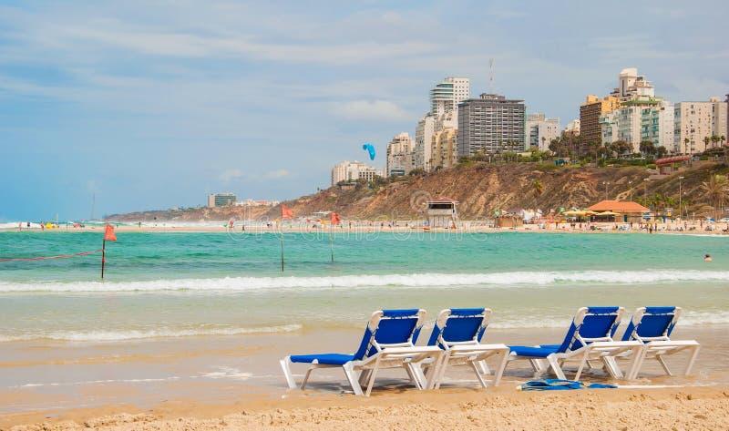 Beach in Netanya stock photos