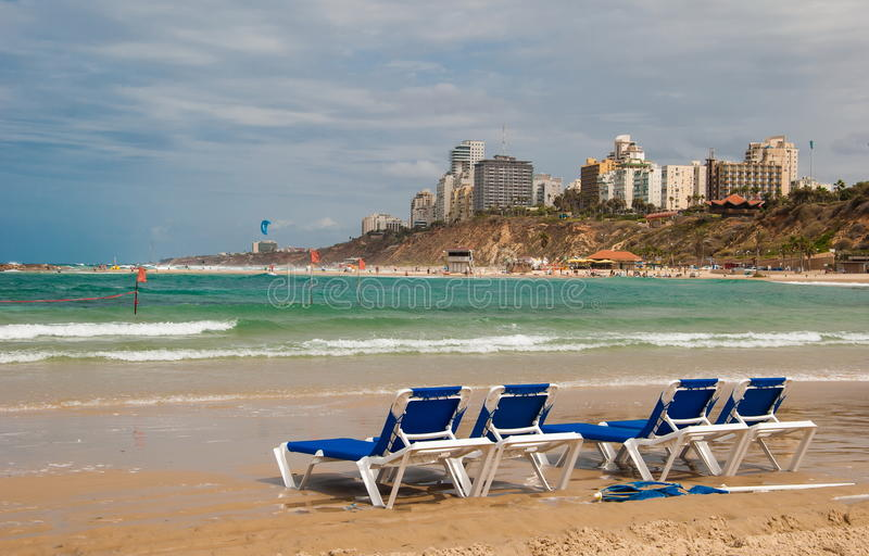 Beach in Netanya royalty free stock images
