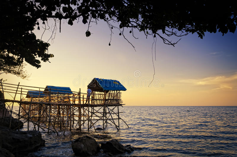 Download Beach Nipa Huts stock image. Image of sunset, rock, design - 24451399