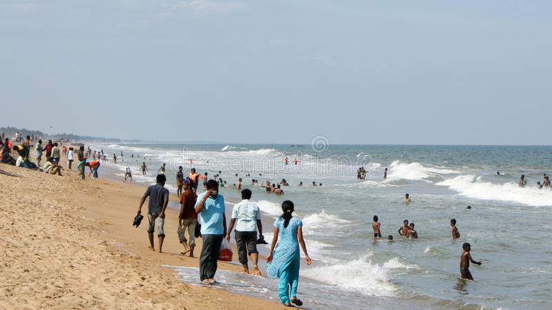 Beach north of Pondicherry, India royalty free stock photography