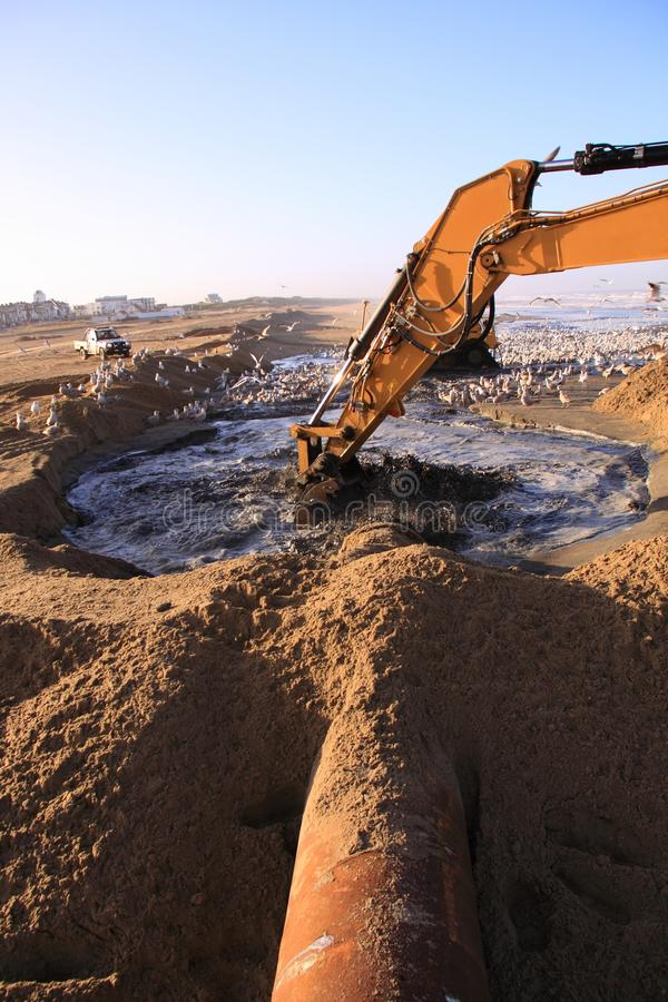 Beach nourishment katwijk. Supplementation of sand to the dutch north sea coast at the beach of the city katwijk. More than 2 million cubic meter sand was stock photos