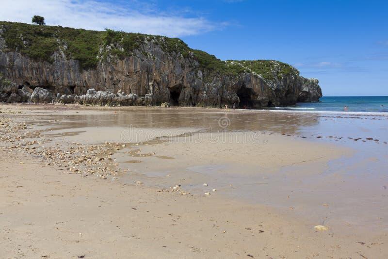 Beach of Nueva de Llanes. Asturias, Spain stock photos
