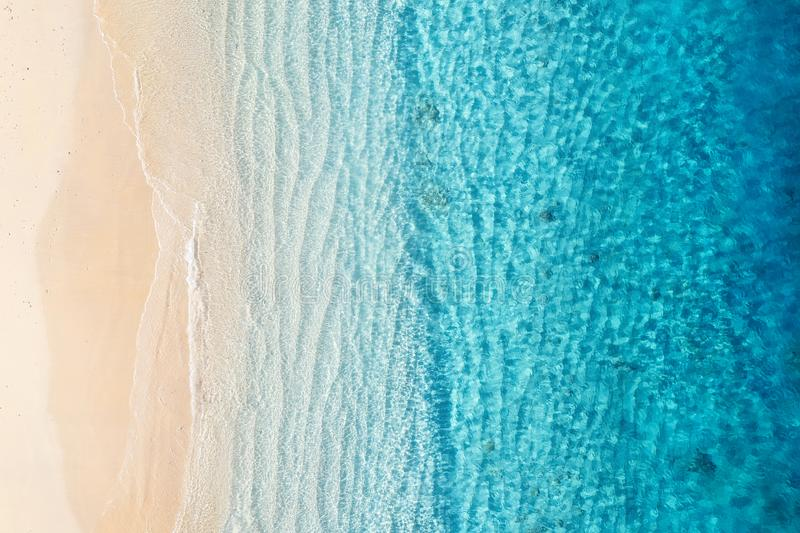 Beach and ocean as a background from top view. Azure water background from top view. Summer seascape from air. Gili Meno island, I. Ndonesia. Travel - image royalty free stock image