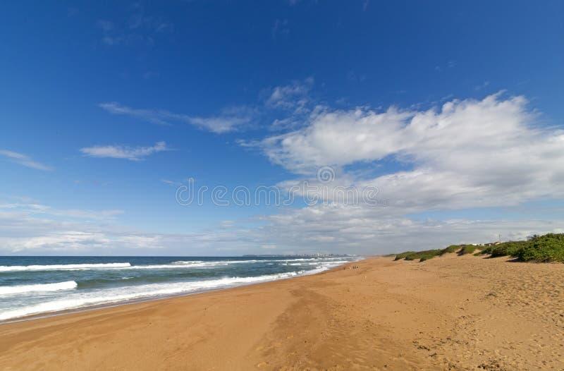 Blue Cloudy Sky And Distant City Coastal Skyline Landscape ...